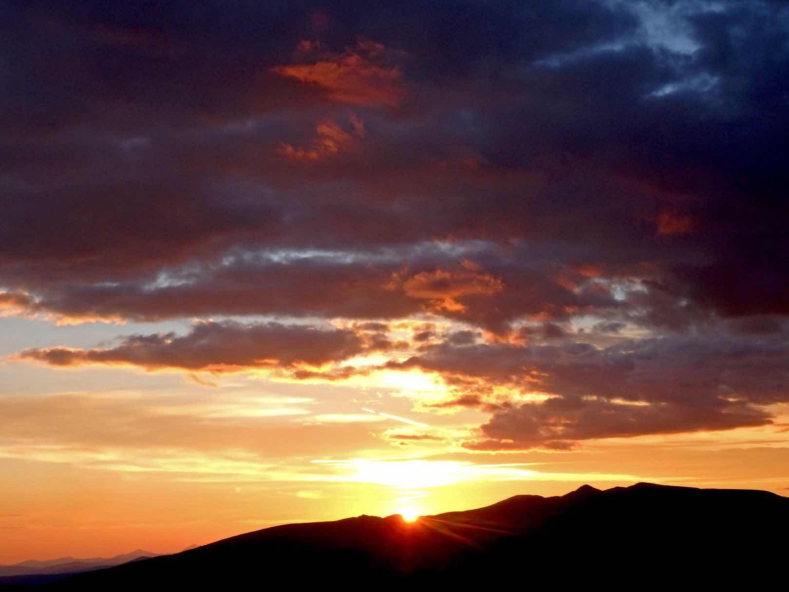 Sunrise as we climb up the ridge